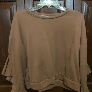 sweatshirt with open tie sleeve with ruffle